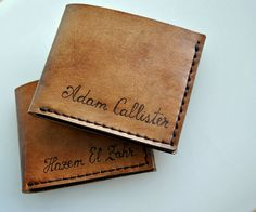Custom personalized mens leather wallet bifold by styledbydeniss