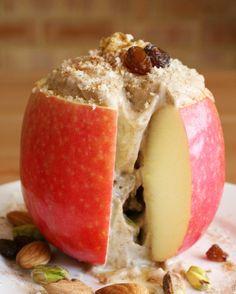 Apple with gooey banana almond butter filling, cinnamon, nuts and raisins. {raw, vegan}