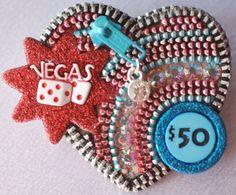 It's Vegas Baby-Vintage Zipper Brooch