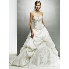 One-piece, corset, strapless, full A-line gown with sweetheart neckline