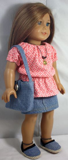 American Girl Doll Clothes-Peasant Blouse, Denim Skirt, Totebag, Necklace and Espadrilles