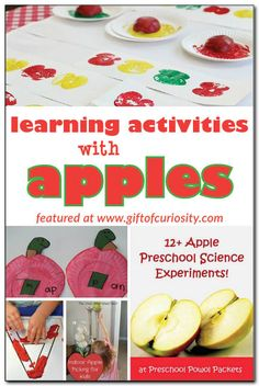 Apple-themed learning activities - ideas for learning letters, practicing sight words, patterning, counting, science and more. . . all with an apple theme! #apples #handsonlearning    Gift of Curiosity