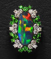 Black Opal, Demantoid Garnet, and Diamond Ring