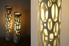 lamps made from  PVC pipes.