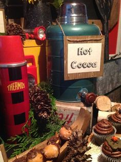 Hot cocoa at a Camping Party Birthday Party!  See more party ideas at CatchMyParty.com!
