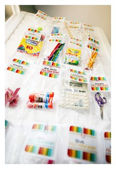 School Supplies Organizer - over the door shoe holder - free printable tag! Back to school.