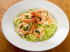 Paleo Garlic Roasted Shrimp with Zucchini Pasta #LowCarb #GlutenFree