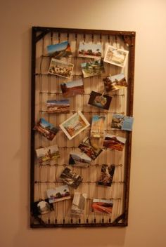 photo display using old crib mattress spring