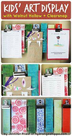 Kids Art Pallet Collage - by Jennifer Priest How to make a display for your kids' artwork using a rustic wood pallet from Walnut Hollow and ink from Clearsnap