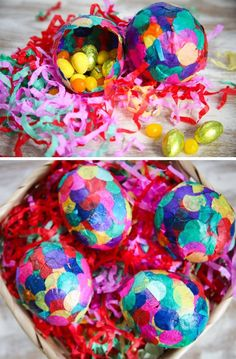 DIY Paper Mache Confetti Eggs, neon colors Easter eggs, DIY Easter craft, Easter Table Setting  #2014 #Easter #Day #DIY #decor #craft #ideas www.loveitsomuch.com