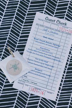 wedding menu on a check slip, photo by Edyta Szyszlo http://ruffledblog.com/allied-arts-guild-wedding #weddingideas #menu #papergoods