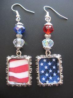 flag earring, patriotic earrings, patriot earring, flag jewelri