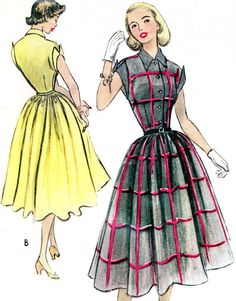 1950s Dress Pattern McCalls 8796 Full Skirt