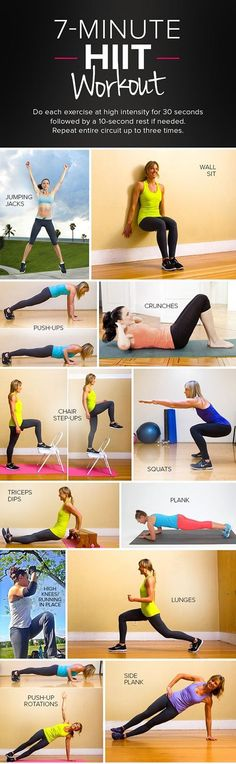 7 Minute HIIT Workout (requires wall and chair/park bench/bleachers): Jumping jacks, wall sit, push ups, crunches, chair step ups, squats, tricep dips, plank, high knees lunges, push up rotation, side plank