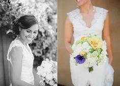 Mandy Scott accents sweet yellow, green and white bouquets with bold pops of purple.