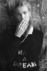 Girl Smoking Long Blonde Braid