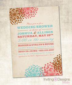 Wedding Shower Invitation (PRINTABLE FILE), Vintage Wedding Shower, Floral. $18.00, via Etsy.