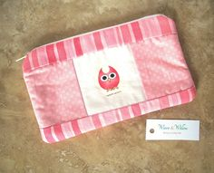 CLEARANCE Cosmetic Pencil Pouch Pink Owl with Slight Defect Sold As Is. $9.50, via Etsy.