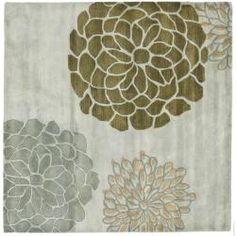 Handmade Soho Botanical Light Grey N. Z. Wool Rug (8' Square)-overstock
