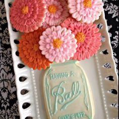 Sugar cookies like flowers in ball jar!