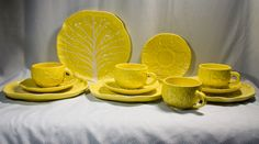 SECLA YELLOW CABBAGE Portugal Dinnerware Set secla yellow, portug dinnerwar, cabbag portug, yellow cabbag, dinnerwar set, portugal, portugues potteri