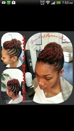 Kinky flat twist updo #natural #hair #style #braids