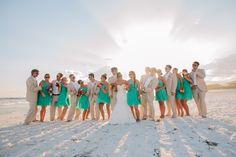 aqua and khaki bridal party  // photo by http://pure7studios.com