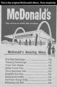 The original McDonalds menu.