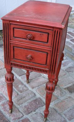 Wood Table - Wooden - Shabby - Cottage Chic - Distressed Red