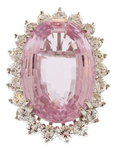 Kunzite and Diamond Platinum Ring