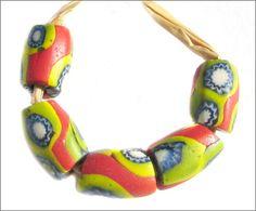 African Trade Beads | Five antique Venetian oval glass beads from the African trade circa early 1900's.