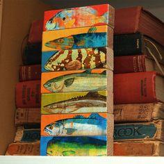 SALE Fish Art Fish Sticks Saltwater Fish Art Block by johnwgolden, $22.00