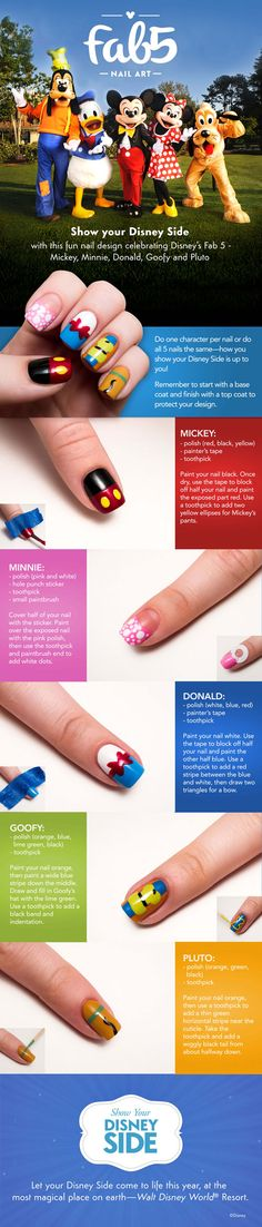 Disney Fab5 DIY Nail Tutorial. Click for more ways because this is so cute!
