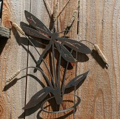 Large Dragonfly and Cattails Rustic Wall Decor