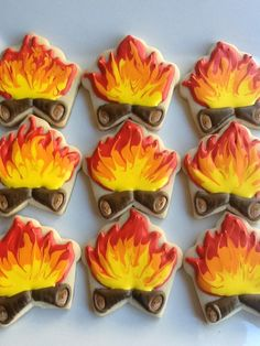 Great idea for a campfire cookie using a cupcake cutter More