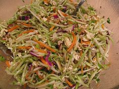 Have made this a zillion times thanks to my recipe buddy Suzy giving me the recipe years ago... only I use angel hair slaw, and I've never used the soup packs with the dressing, but perhaps it is worth a try.