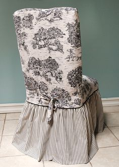 Black and Ivory Toile Chair Cover, I'd love these slipcovers for the dining room.