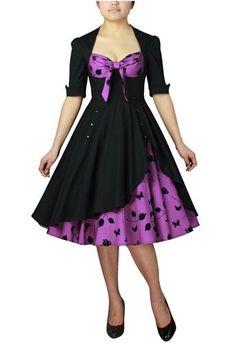 Rockabilly Dress - black and purple