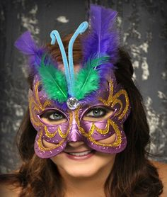 Masquerade Butterfly Costume Mask with Feathers