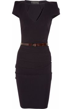 Belted stretch crepe dress