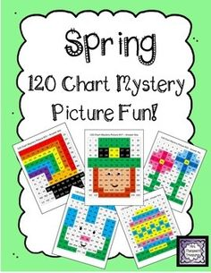 Spring 120 Chart Mystery Picture Fun! This is a set of 5 fun printable worksheets for students to practice place value and recognizing colors and numbers on a 120 chart. Use the key to color in the boxes and reveal a hidden picture! Rainbow & pot of gold, leprechaun, flowers, Easter egg, bunny   *Two work pages are included for differentiation!