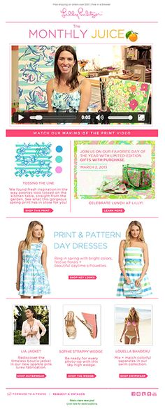 Lilly Pulitzer used video in email to give a behind-the-scenes look at of the making of a new print. The video played directly in the inbox, and automatically adjusted to show an animated .gif or video still when necessary. #video #emailmarketing