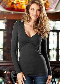 Knot front v-neck top