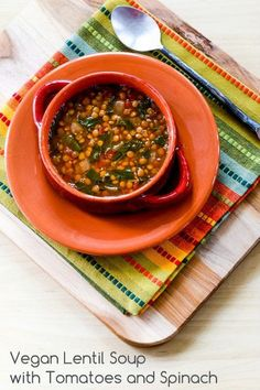 This flavorful Lentil Soup with Spinach, Tomatoes, and Cumin is #Vegan and #GlutenFree.  [from Kalyn's Kitchen]