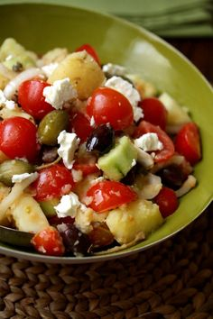 Healthy Greek Potato Salad with Olives and Feta.