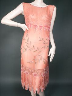 1920's Beaded Salmon Silk Chiffon Dress