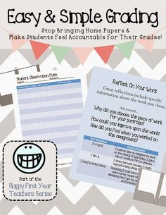 Happy First Year Teacher Series: Grading made easy for you and simple for students.  Great tips for intermediate teachers in grades 4, 5, and 6.