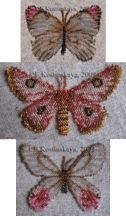Three Pink Butterfly Lepidopteras Beading Pattern by Katherina Kostinsky at Bead-Patterns.com beading patterns, bead butterfli