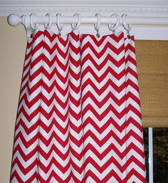 RED White CHEVRON CURTAINS Two Drapery Panels Premier Prints Fabric Cotton Zig Zag Window Treatment on Etsy, $69.00