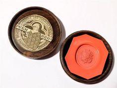 57) PUGH Antique Coat of Arms LIONS SHIELD Proof Wax Seal Lignum Vitae Box